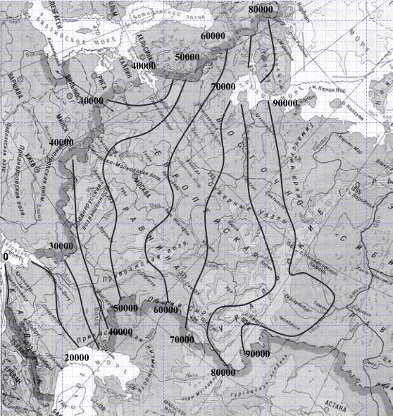 Индекс мороза на карте РФ