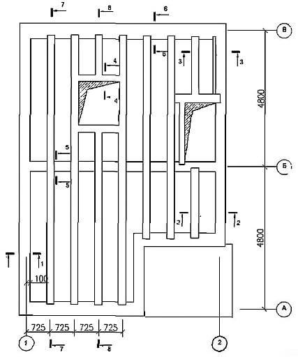 Схема расположения монолитных