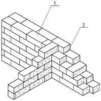 Сопряжение кладки наружной стены в два блока с внутренней стеной