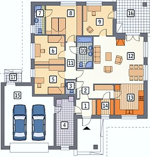 План частного дома из пяти комнат с гаражом на два автомобиля