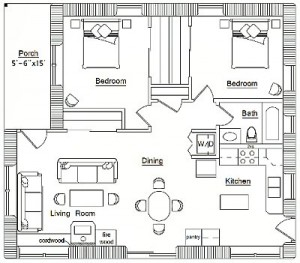 Рис.3. План дома со стенами из деревянных чурок