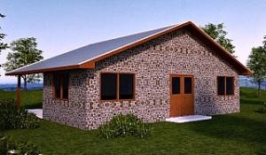 Рис.1 Деревянный дом со стенами из чурок
