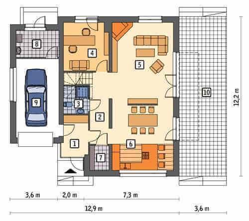 План первого этажа двухэтажного дома