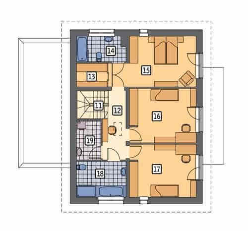 План второго этажа двухэтажного частного дома
