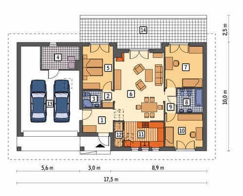 Пример планировки одноэтажного частного дома