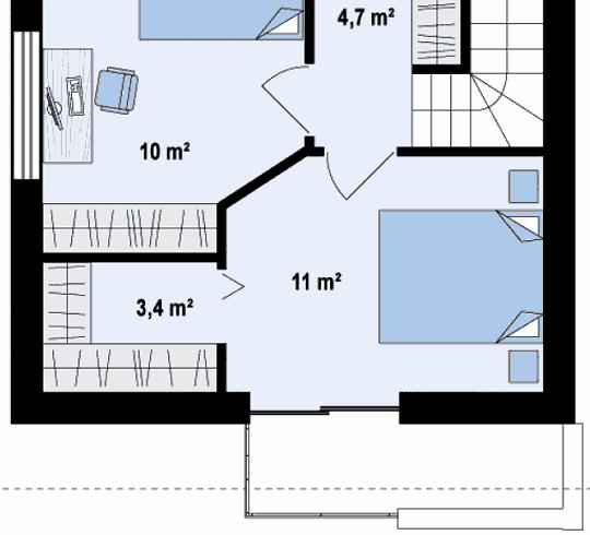 Гардеробная комната в спальне частного дома