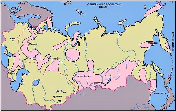 Карта районов опасности по радону в России