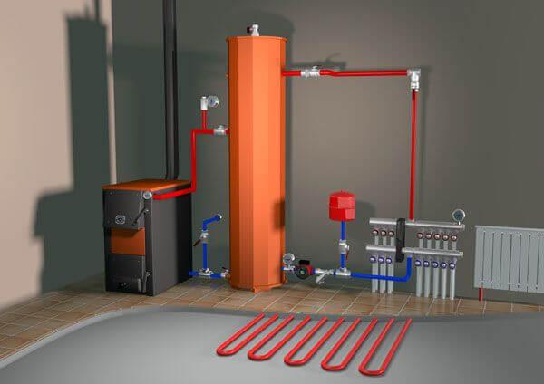 Схема отопления твердотопливным котлом с буферной емкостью - гидроразделителем
