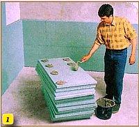 нанесение клея на плиты утеплителя