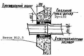 Узел заделки трубы в стенке септика из бетонных колец