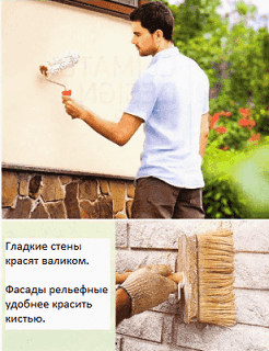 Покраска фасада дома снаружи кистью и валиком