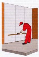 Корректировка положения листов гипсокартона на стене