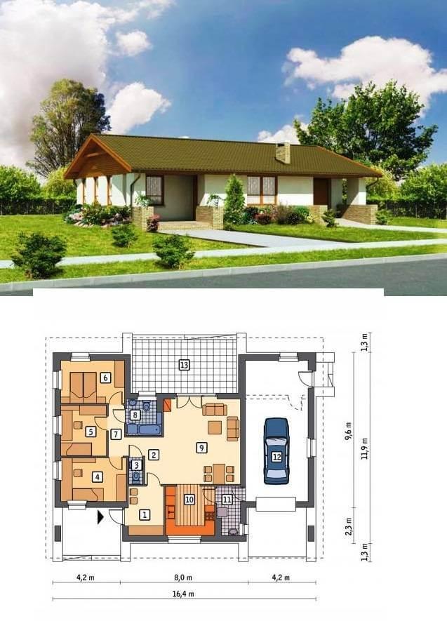 Фасад и план недорогого дома