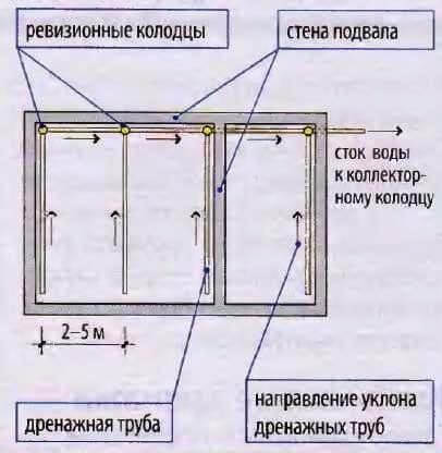 Схема дренажа внутри подвала частного дома