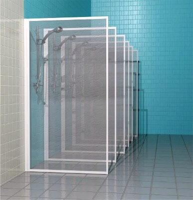 Прозрачная душевая перегородка из стекла или пластика на каркасе из алюминиевого профиля