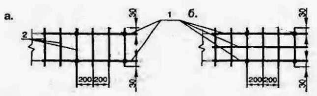 Схема армирования монолитного пояса блочного фундамента