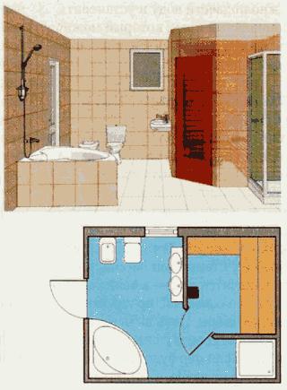 План - схема сауны в ванной комнате