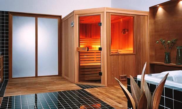 Домашняя мини сауна в ванной комнате квартиры или дома