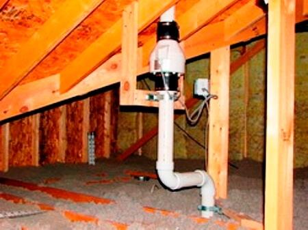канал вентиляции с канальным вентилятором на чердаке дома