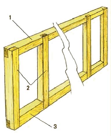 Продольная рама каркаса стены мансарды