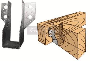 Стальной перфорированный крепеж - опора деревянной балки