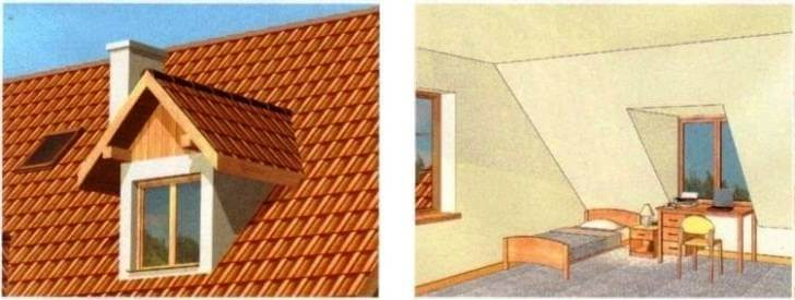 Окно - люкарна двухскатная в крыше мансарды