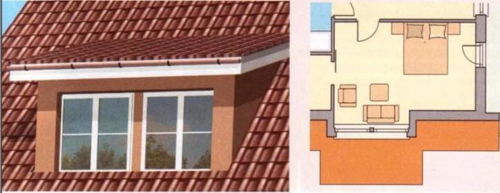 Люкарна односкатная окно на крыше мансарды