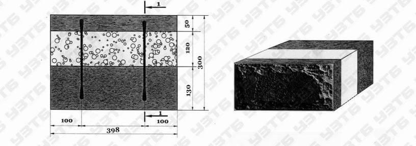 трехслойный теплоэффективный теплоблок для несущей стены дома