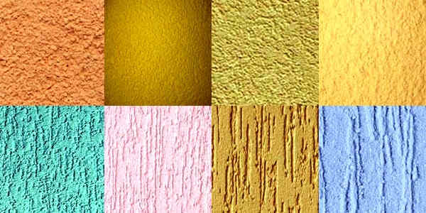 Фактуры и цвета тонкослойной фасадной штукатурки