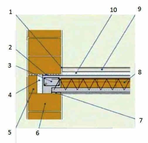 Опирание перекрытия на стену из крупноформатных поризованных керамических блоков
