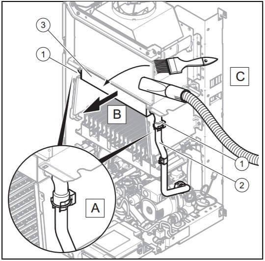 Чистка первичного теплообменника газового котла от сажи