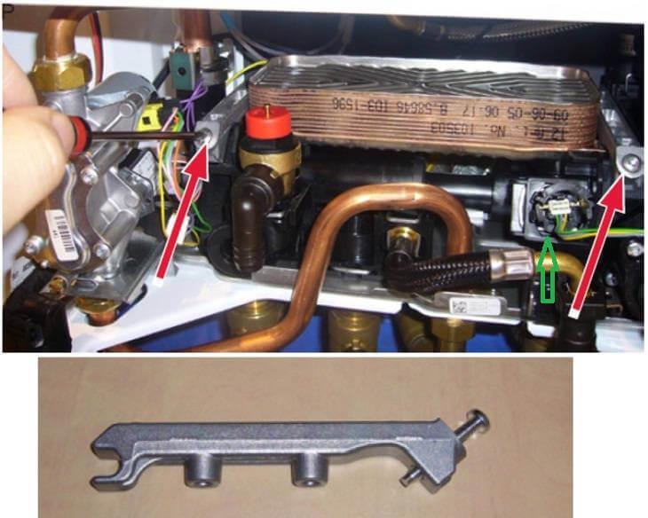 Вторичный теплообменник ГВС газового котла Protherm Gepard (Panther) - Снять и чистка от накипи