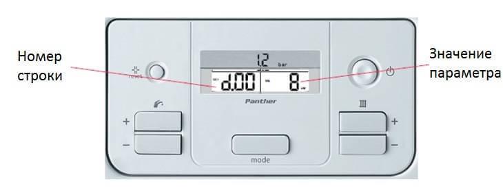 Панель управления сервисного меню газового котла Protherm Panther