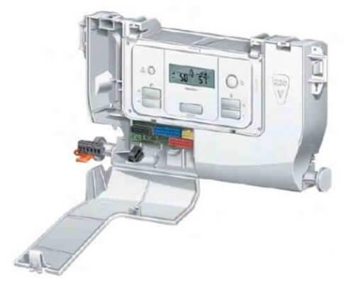 колодка клеммника обозначенного, какХ17(на рис. черного цвета слева ) в отсеке 24 V панели управления газового котла Protherm Gepard (Panther)