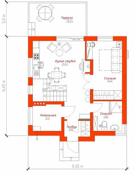 Планировка первого этажа двухэтажного частного дома размером в плане 8 на 8 метров