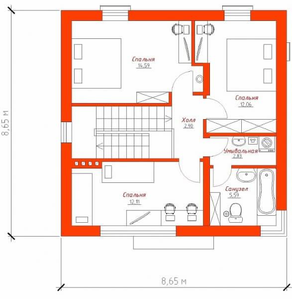 Планировка второго этажа двухэтажного частного дома размером в плане 8 на 8 м.