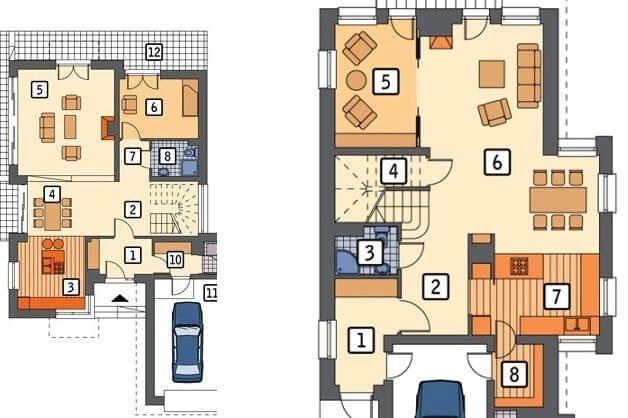 Кухня студия совмещенная с гостиной и столовой в частном доме - островок на кухне
