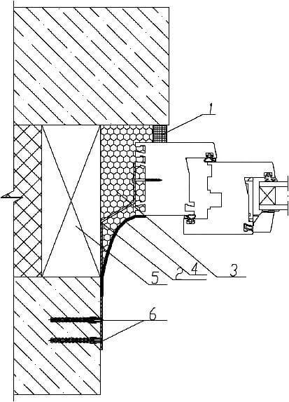 Схема заделки монтажного шва пластикового окна в трехслойной стене с утеплителем
