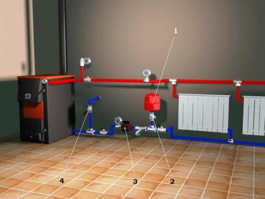 Установка монтаж мембранного расширительного бака отопления