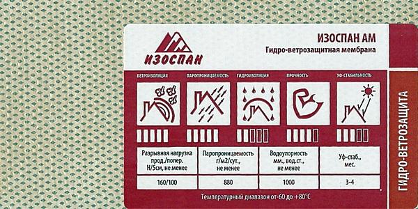 Пленки мембраны парогидроизоляции Изоспан AM