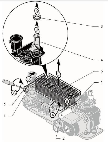 Пластинчатый теплообменник ГВС газового котла Protherm