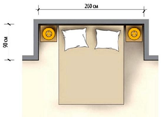 Ниша для кровати в спальне