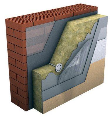 Стена кирпичная со штукатуркой по утеплителю