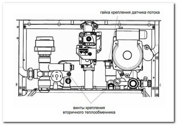 Как снять вторичный теплообменник ГВС газового котла BAXI